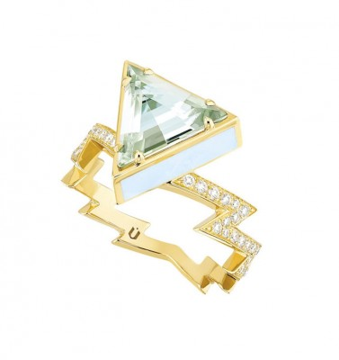 #NUUN #Ring #gold #J Diamond #Bague #or jaune#Diamant J #Aquamarine #Aigue Marine
