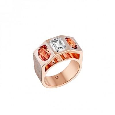 #NUUN #Ring #gold #J Diamond #Bague #or jaune#Diamant J #Padparasha sapphires #saphir