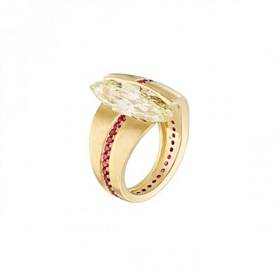 #NUUN #Ring #gold #J Diamond #Bague #or jaune#Diamant J #Spinelles #Spinels