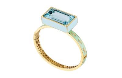 #NUUN #bangle #bracelet #émail #enamel #aquamarine #aigue-marine #or #gold