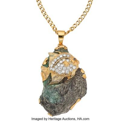 #PETER LINDEMAN #Diamond #Sapphire #Rough Emerald #Gold #Pendant-Necklace #or #pendentif #diamant #saphir #émeraude brute