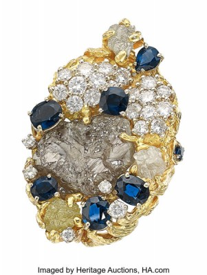 #PETER LINDEMAN #Rough Diamond #Colored Diamonds #Sapphire #Gold #Ring #diamant brut #diamants de couleur #saphir #or #bague